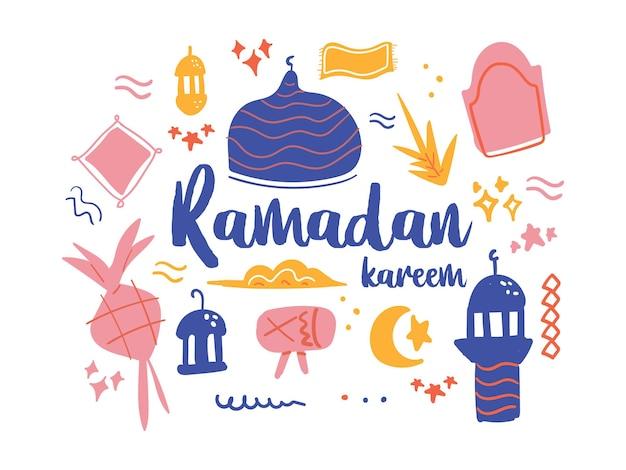 Ensemble d'illustrations d'éléments de doodle de thème ramadhan kareem dessinés à la main