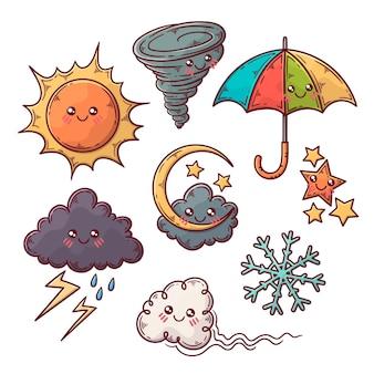 Ensemble d'illustrations d'éléments météorologiques