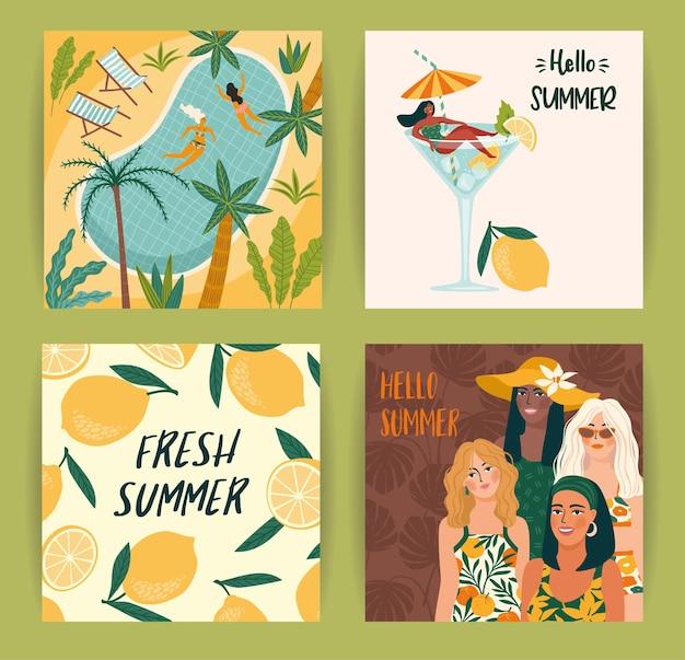 Ensemble d'illustrations estivales lumineuses avec des femmes mignonnes. carte