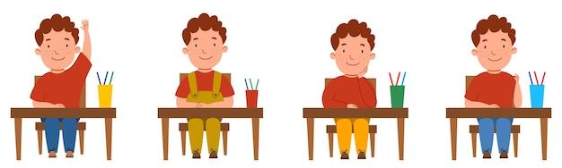 Un ensemble d'illustrations avec un étudiant assis à un bureau de classe. le garçon aux cheveux bouclés et aux taches de rousseur à la table leva la main.