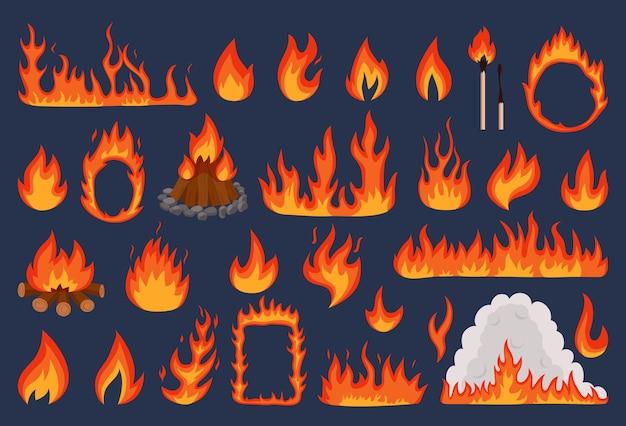 Ensemble d'illustrations de feu de flamme