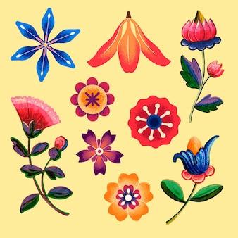 Ensemble d'illustrations de fleurs ethniques mexicaines