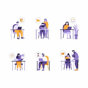 Ensemble d'illustrations de gens de bureau d'affaires travaillant à la table avec un ordinateur portable. résolution de problèmes, fichiers manquants, travail terminé, messages non lus, icônes de processus au travail des hommes et des femmes.