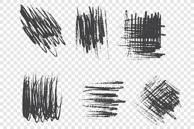 Ensemble d'illustrations de gribouillis de coup de pinceau