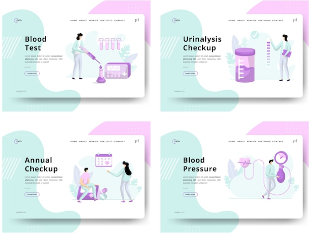 Ensemble d'illustrations health checkup, concepts test sanguin, urinalysis checkup, annual checkup, blood pressure, can use for website development