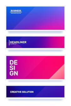 Ensemble d'illustrations horizontales abstraites roses et violettes créatives dans le dégradé d'affaires du cadre