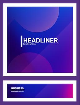 Ensemble d'illustrations horizontales abstraites violettes créatives dans un cadre avec dégradé d'affaires bokeh