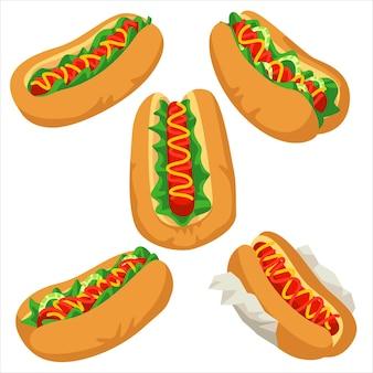 Ensemble d'illustrations de hot-dog