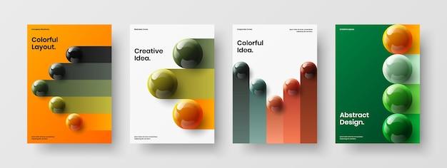 Ensemble d'illustrations d'identité d'entreprise d'orbes réalistes minimalistes