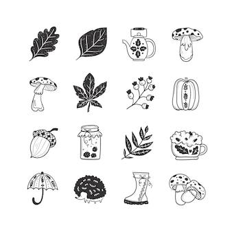 Ensemble d'illustrations incolores doodle d'automne dessinés à la main d'objets vectoriels mignons