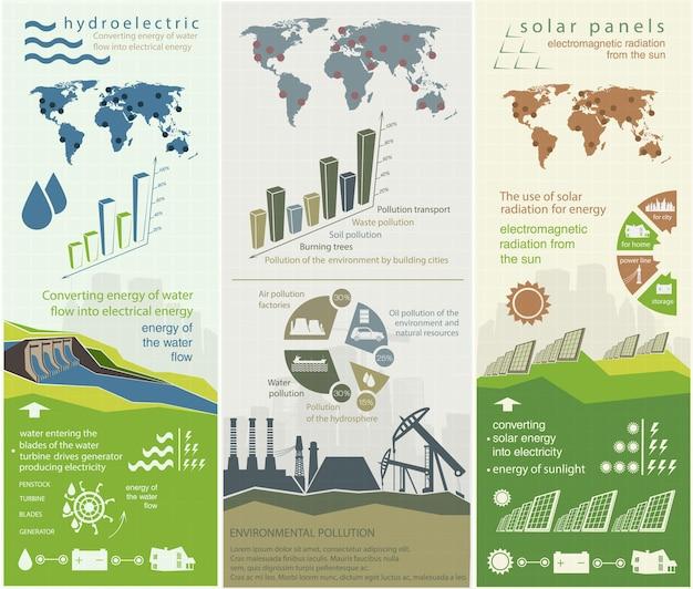 Ensemble d'illustrations infographiques des sources d'énergie renouvelables de l'eau et du vent de la terre