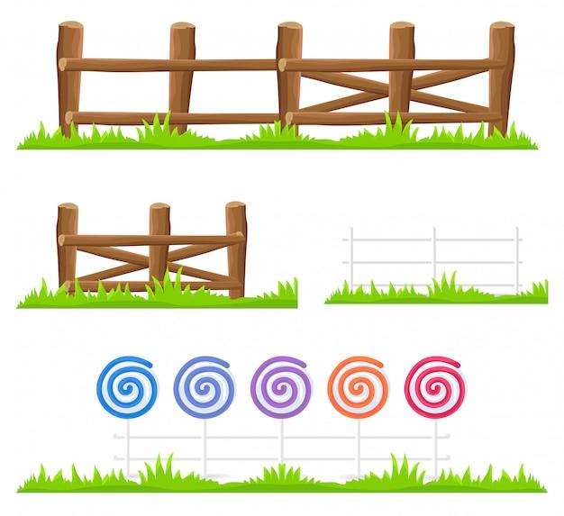 Ensemble d'illustrations isolées de clôture en bois et de bonbons