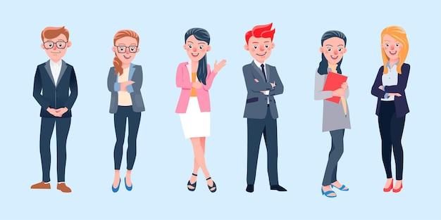 Ensemble d'illustrations isolées des personnages de l'équipe commerciale internationale travaillant, debout et souriant en costume de bureau