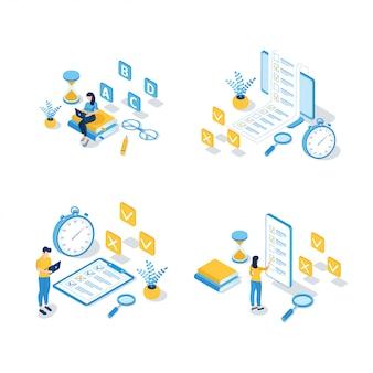 Ensemble d'illustrations isométriques d'éducation en ligne