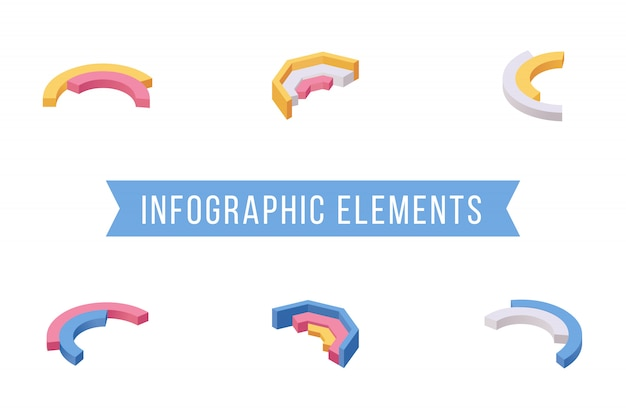 Ensemble d'illustrations isométriques d'éléments infographiques