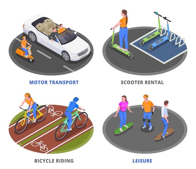 Ensemble d'illustrations isométriques de moyens de transport personnels