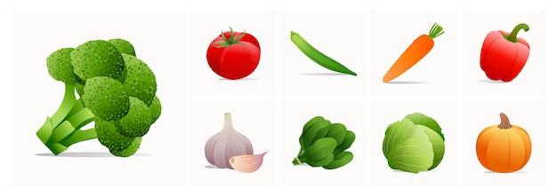 Ensemble d'illustrations de légumes