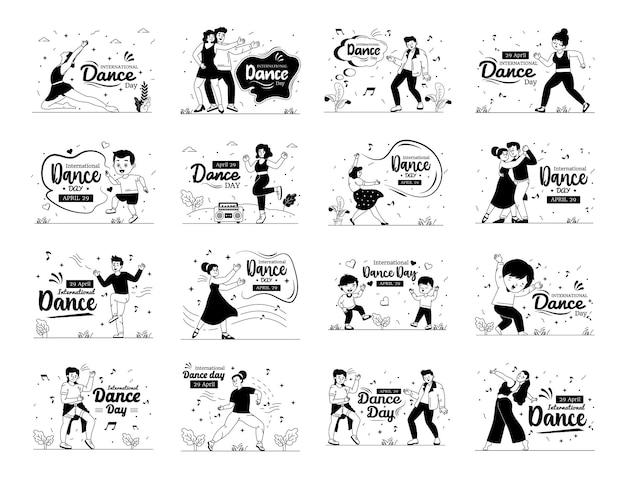Ensemble d'illustrations de ligne de glyphe de la journée internationale de la danse