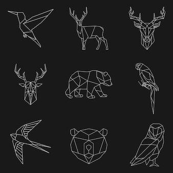 Ensemble d'illustrations linéaires animaux