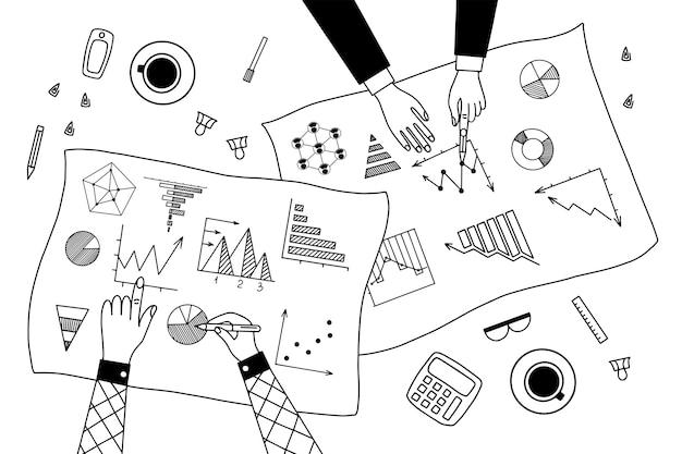 Ensemble d'illustrations linéaires de graphique et graphique