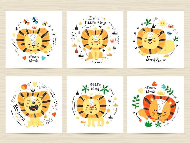 Ensemble d'illustrations avec des lions et des lettrages mignons
