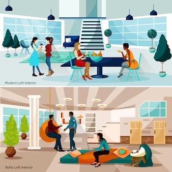 Ensemble d'illustrations loft studio