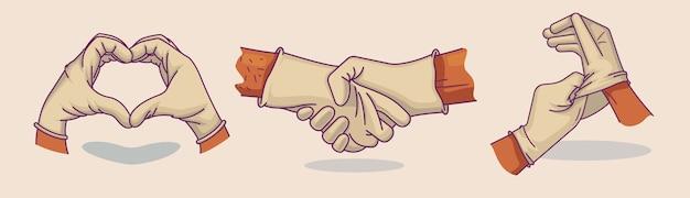 Ensemble d'illustrations main dans des gants médicaux. coeur des mains. poignée de main. icône, illustration de doodle