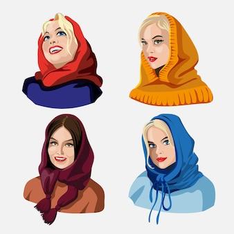 Un ensemble d'illustrations de mains de filles mignonnes dans divers vêtements et foulards faisant différentes activités avec différentes expressions. autocollants ou badges vectoriels. illustration vectorielle isolée en style cartoon.