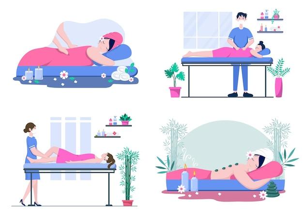 Ensemble d'illustrations de massage et de spa corporel