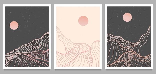 Ensemble d'illustrations modernes minimalistes créatives dans un style linéaire.