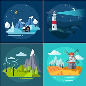 Ensemble d'illustrations de montagnes et de paysages aquatiques