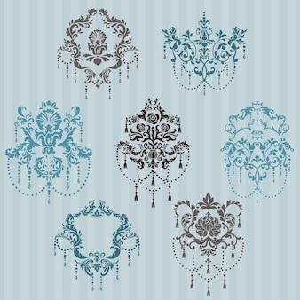 Ensemble d'illustrations ornementales damask - pour votre conception, invitation, salutations