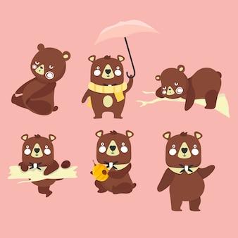 Ensemble d'illustrations avec des ours. différentes poses.