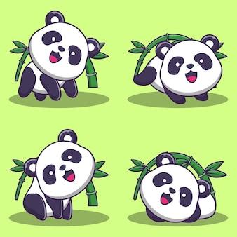 Ensemble d'illustrations de panda mignon