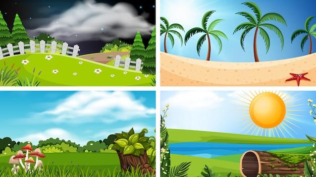 Ensemble d'illustrations de paysages différents
