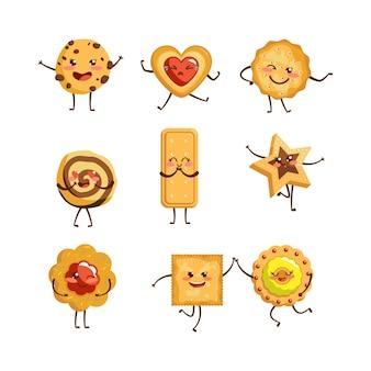 Ensemble d'illustrations de personnages de dessins animés de biscuits mignons