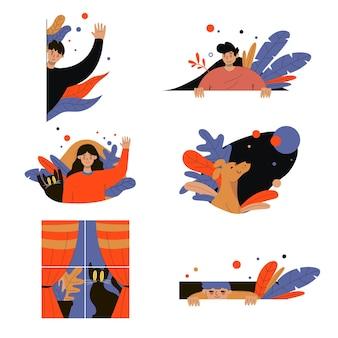 Ensemble d'illustrations de personnages de dessins animés voyeurs mignons