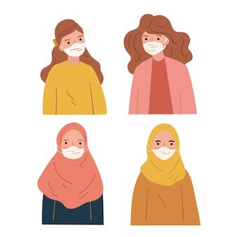 Un ensemble d'illustrations de personnes portant un masque facial. auto-protection contre les virus, les bactéries et la pollution