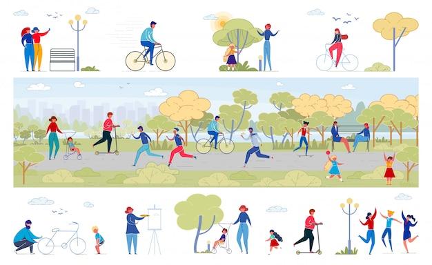 Ensemble d'illustrations plat d'activités de la vie du parc