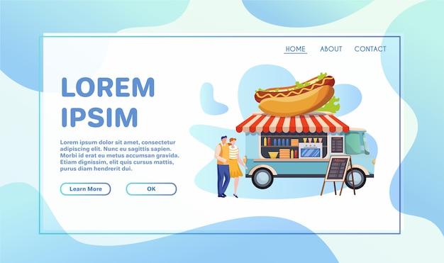 Ensemble d'illustrations plat camion alimentaire