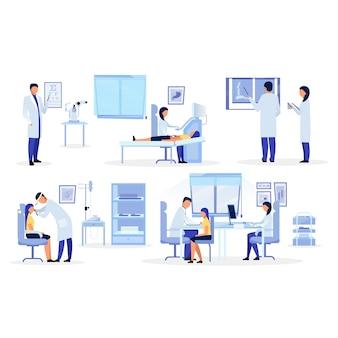 Ensemble d'illustrations plat médecins, médecins généralistes, thérapeutes. personnel médical diagnostiquant des personnages de dessins animés. orthopédiste, oto-rhino-laryngologiste, ophtalmologiste, échographiste examinant les patients