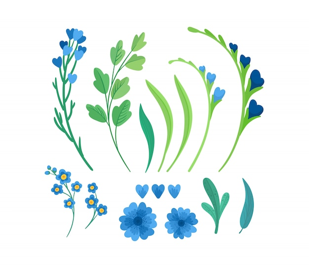 Ensemble d'illustrations plates d'éléments de fleurs.