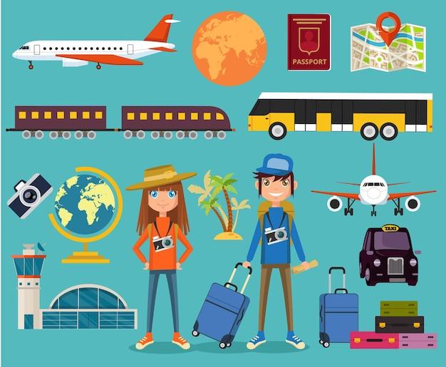 Ensemble d'illustrations plates d'équipement touristique