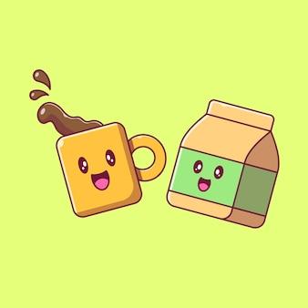Ensemble d'illustrations plates de mascotte de sac de café et de papier mignon.