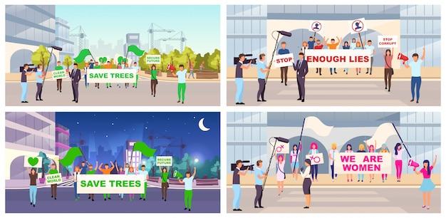 Ensemble d'illustrations plates de protestations sociales. mouvement féministe, démonstration de sauver des arbres. manifestants, militants avec des personnages de dessins animés de pancartes. actions de protestation de rue, réunions, manifestation