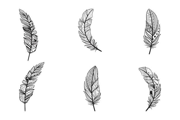 Ensemble d'illustrations de plumes de mandala dessinés à la main