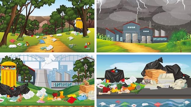 Ensemble d'illustrations de la pollution