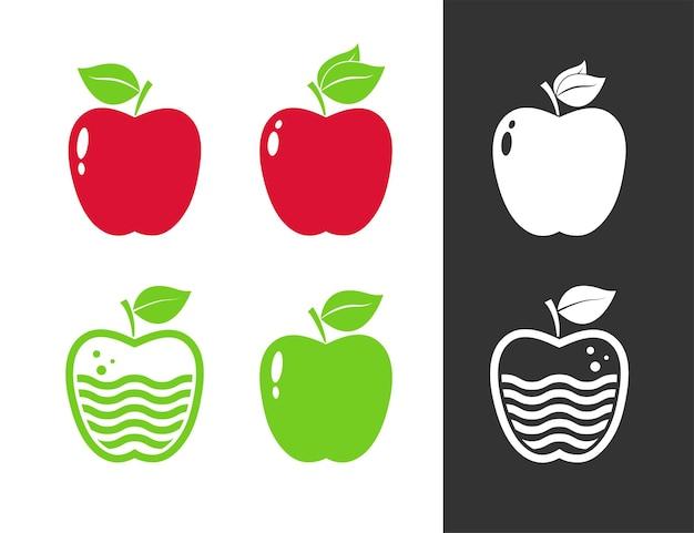 Ensemble d'illustrations pomme rouge et verte