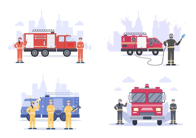 Ensemble d'illustrations de pompiers avec des moteurs d'incendie