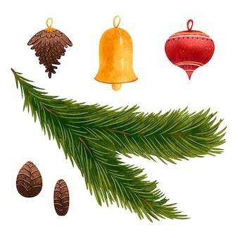 Un ensemble d'illustrations pour la brindille de pin du nouvel an, cloche, cônes, décoration pour l'arbre de noël